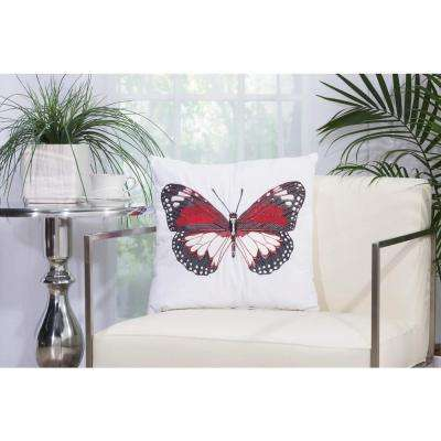 Red Butterfly 18 in. x 18 in. White Indoor and Outdoor Pillow