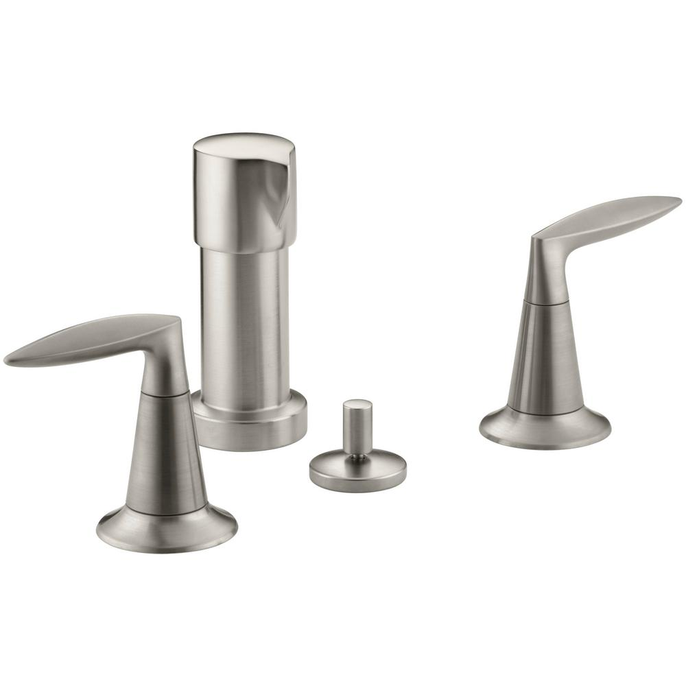 KOHLER Alteo 2-Handle Bidet Faucet in Vibrant Brushed Nickel