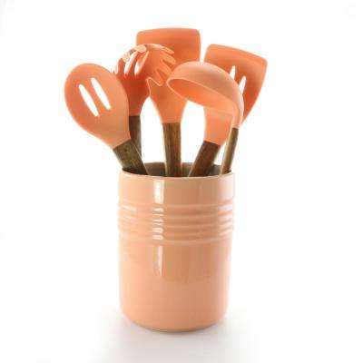 Plaza Cafe 5-Piece Kitchen Tools with Coral Ceramic Crock