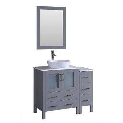 42 in. W Single Bath Vanity with Pheonix Stone Vanity Top in White with White Basin and Mirror