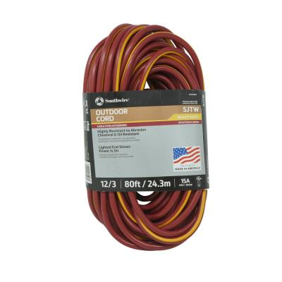 80 ft. 12/3 Burgundy/Yellow SJTW Outdoor Heavy-Duty Extension Cord with Power Light Plug