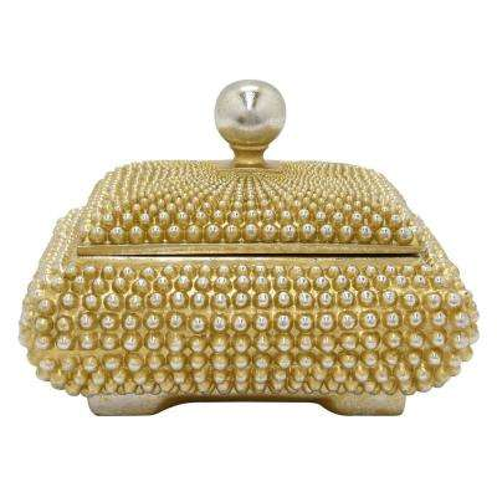 10 in. x 8 in. Decorative Champagne Resin Covered Box in Champagne