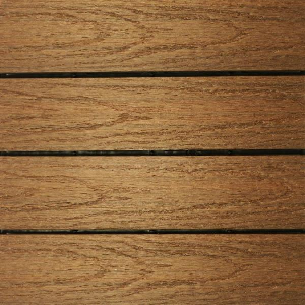 UltraShield Naturale 1 ft. x 1 ft. Quick Deck Outdoor Composite Deck Tile Sample in Peruvian Teak