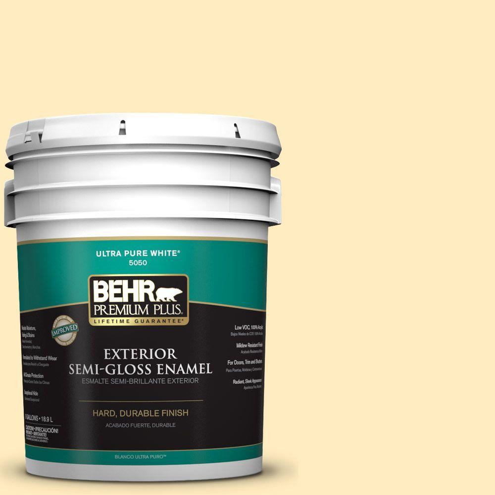 BEHR Premium Plus 5-gal. #P290-1 Soft Buttercup Semi-Gloss Enamel Exterior Paint