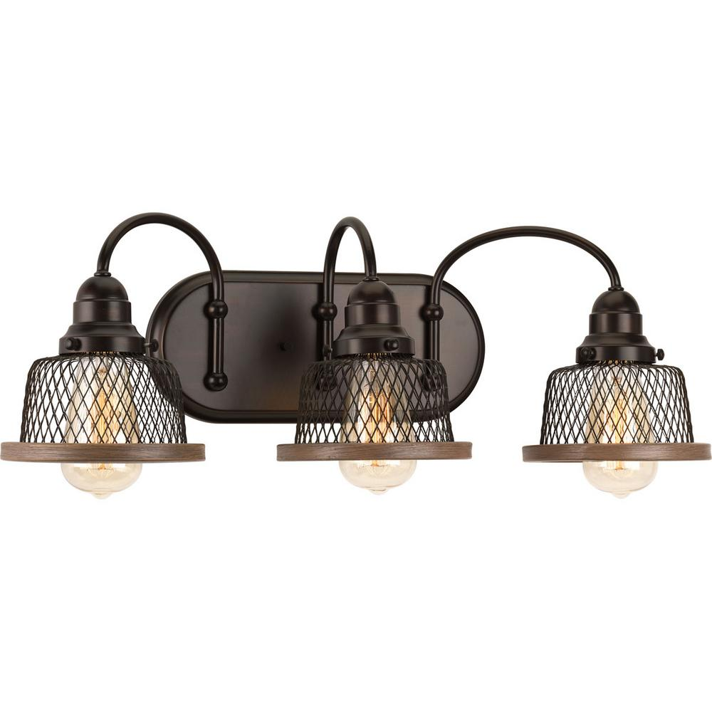 Progress Lighting Tilley Collection 3 Light Antique Bronze Bathroom Vanity With Mesh Shades