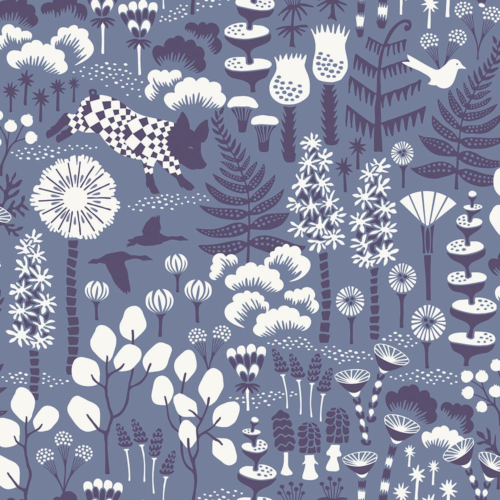 8 in. x 10 in. Hoppet Blue Folk Wallpaper Sample
