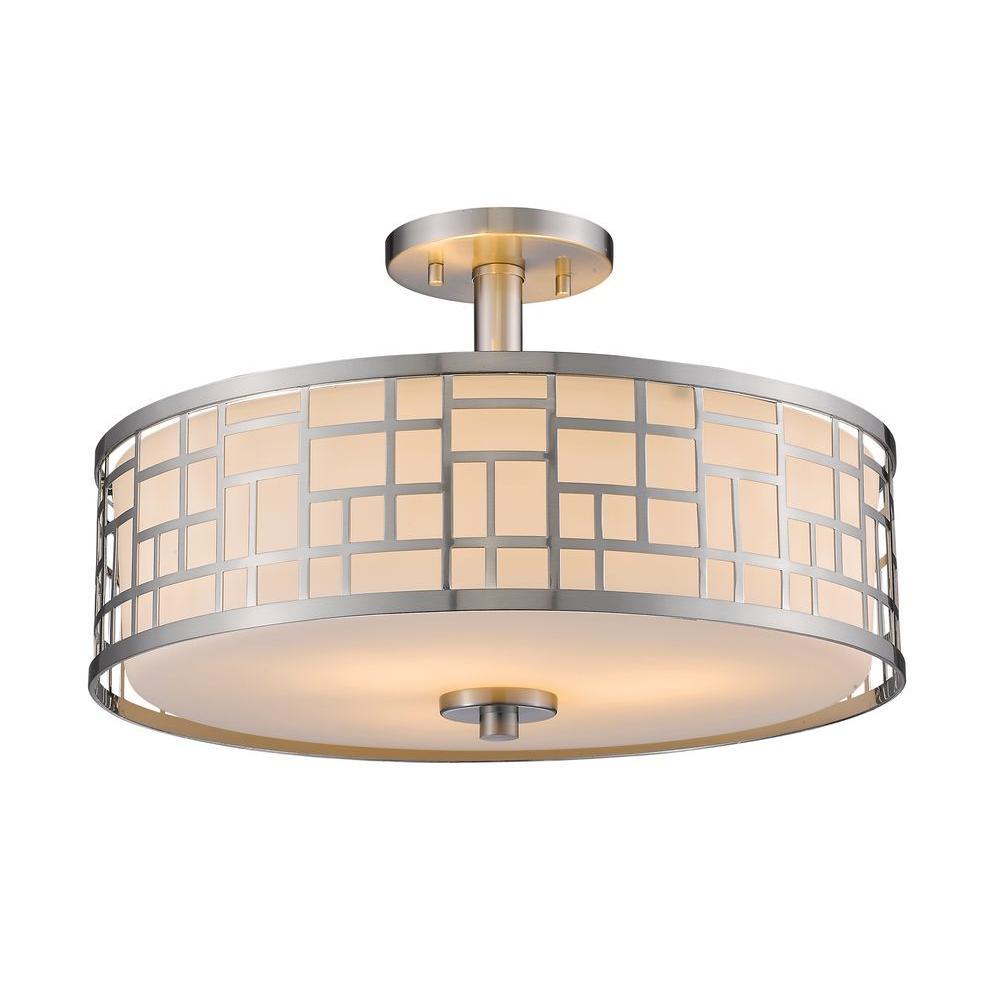 Lashley 3-Light Brushed Nickel Semi-Flush Mount Light