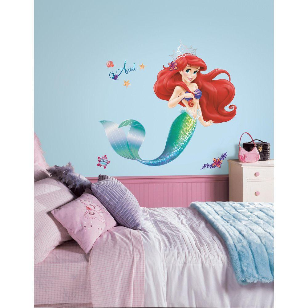 Roommates 5 in x 19 in the little mermaid peel and stick giant the little mermaid peel and stick giant wall decals rmk2360gm the home depot amipublicfo Images