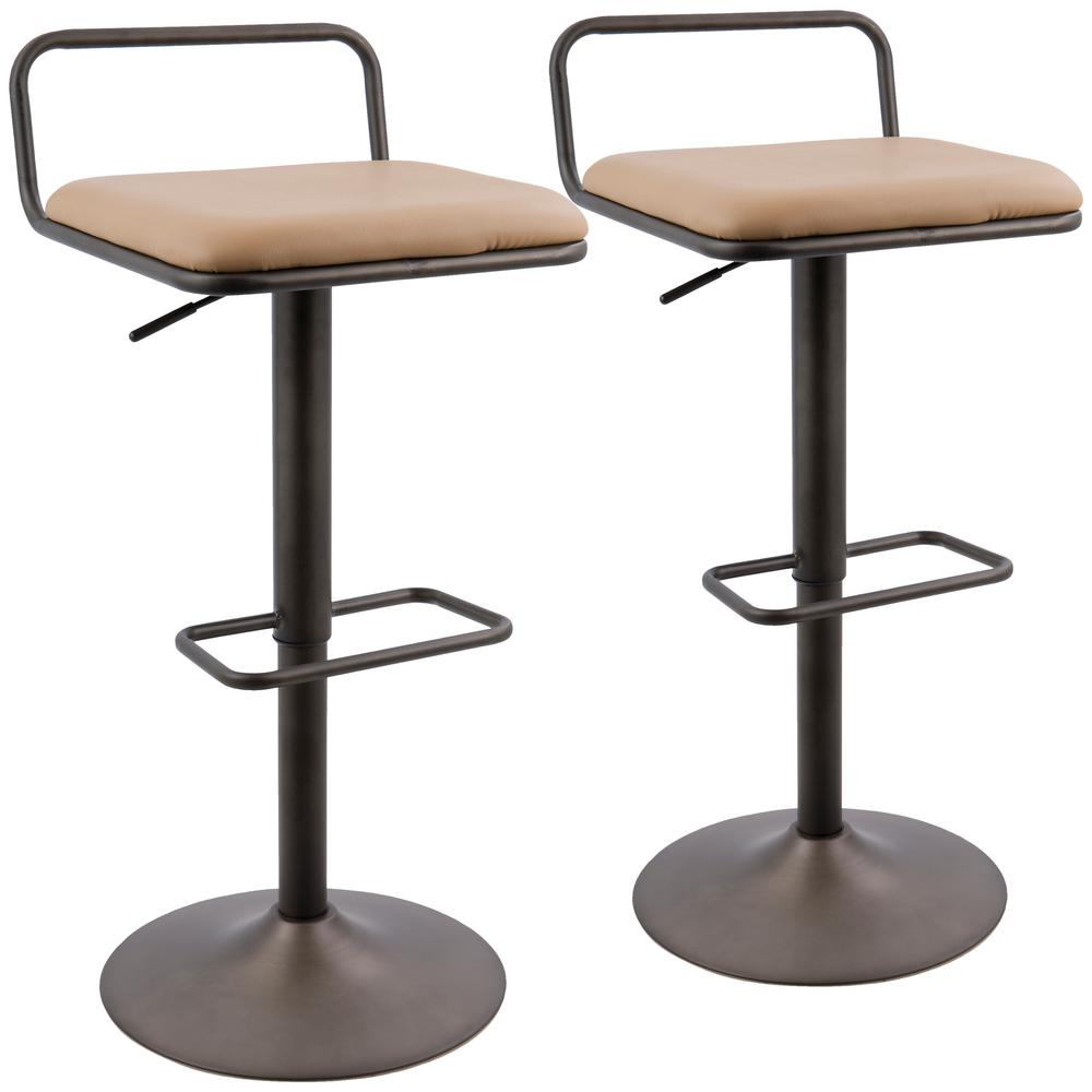 Lumisource Beta Industrial Antique And Camel Faux Leather Barstool (Set Of  2)