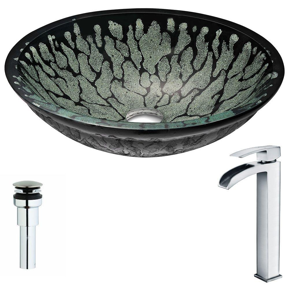 ANZZI Bravo Series Deco-Glass Vessel Sink in Lustrous Black with Key Faucet in Polished Chrome was $311.99 now $249.59 (20.0% off)