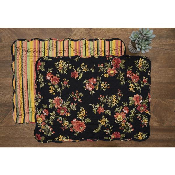 Aail Black Quilted Placemat Set