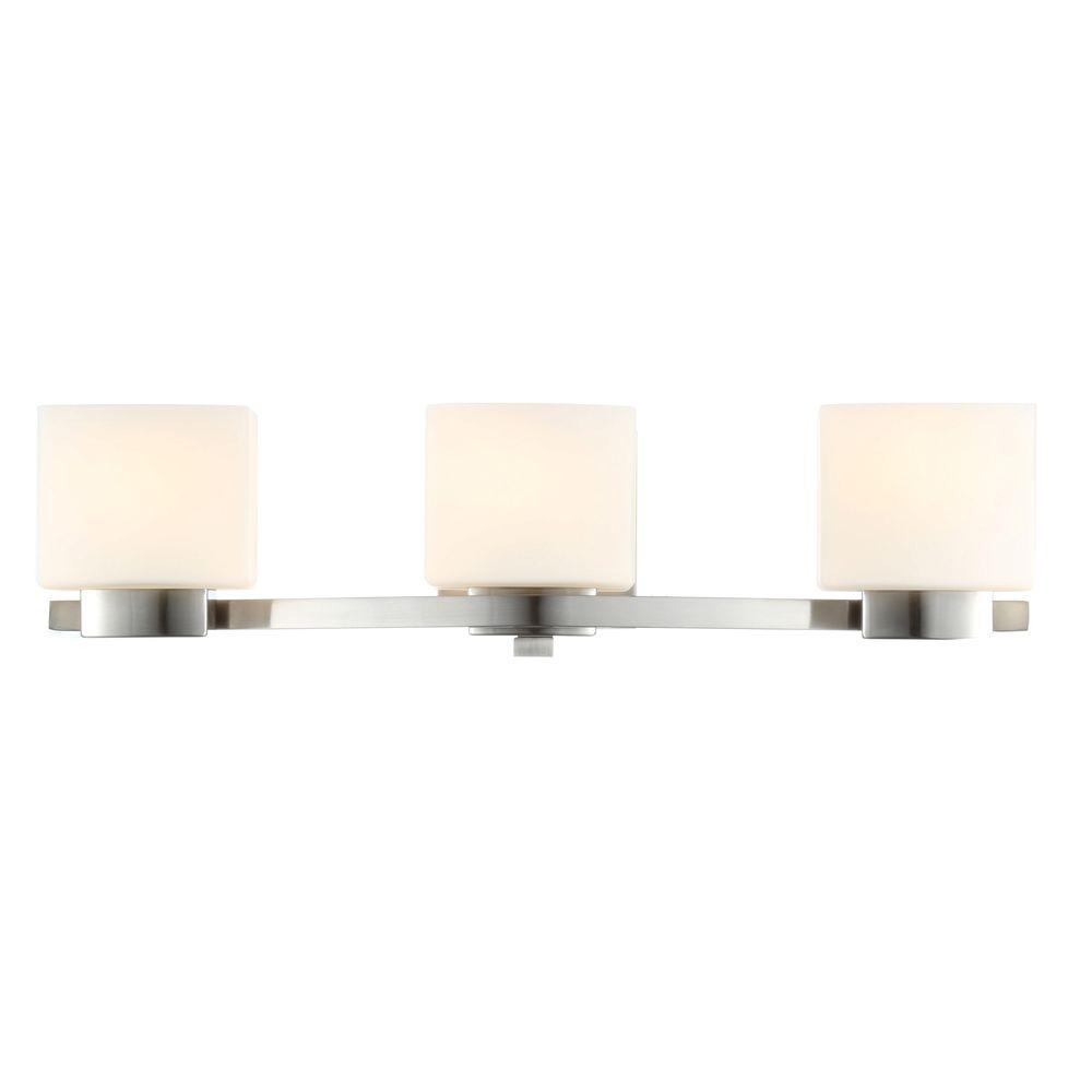 3-Light Brushed Nickel Vanity Light with Etched White Glass Shades