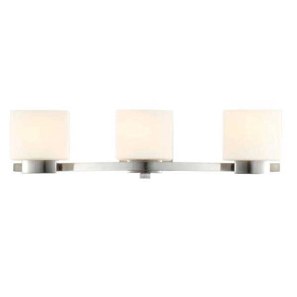 Aldridge 3-Light Brushed Nickel Vanity Light with Etched White Glass Shades