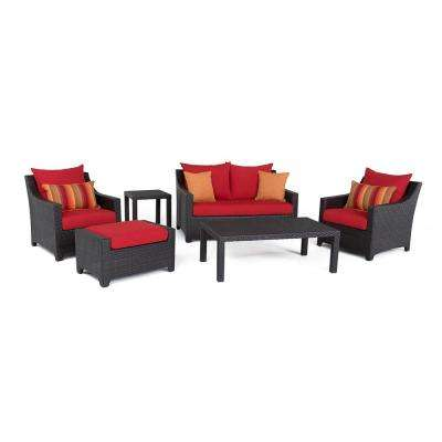 Deco 6-Piece All-Weather Wicker Patio Love and Club Deep Seating Set with Sunset Red Cushions
