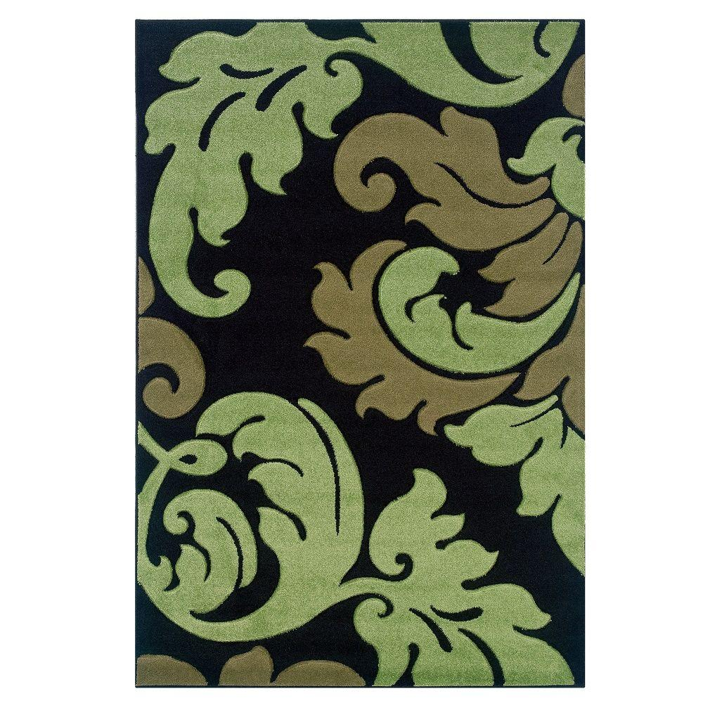 Linon Home Decor Corfu Collection Black And Lime 5 Ft X 7 Ft 7 In Indoor Area Rug Rug Cu1358