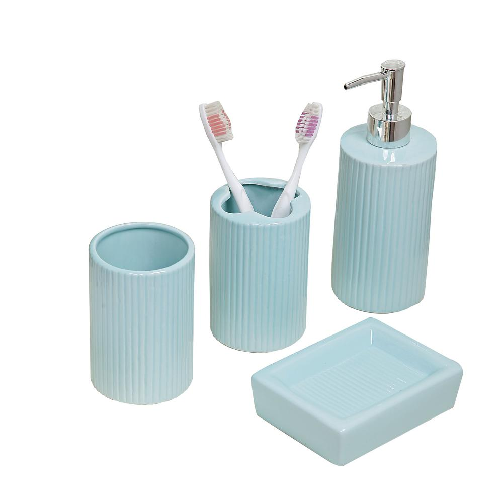 . Indecor Home 4 Piece Bath Accessory Set in Aqua