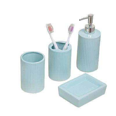 4-Piece Bath Accessory Set in Aqua