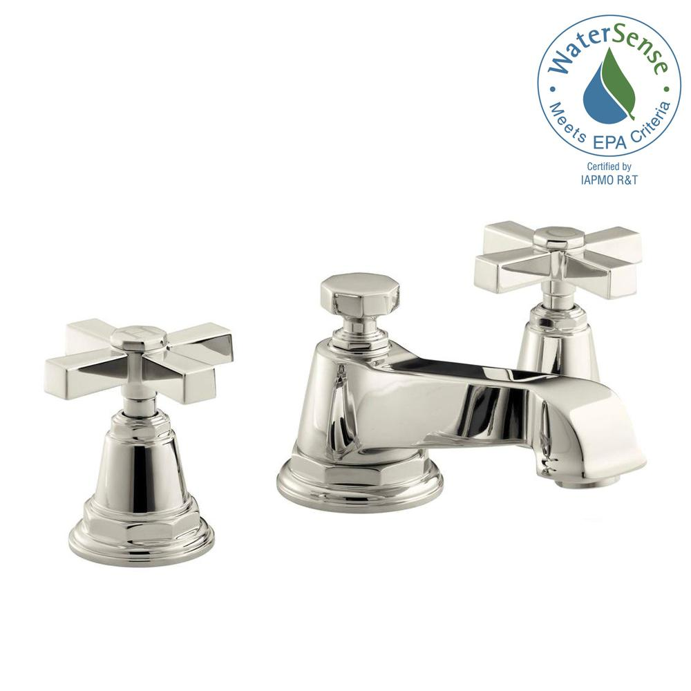 Pinstripe Pure 8 in. Widespread 2-Handle Low-Arc Water-Saving Bathroom Faucet in