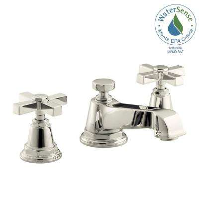 Pinstripe Pure 8 in. Widespread 2-Handle Low-Arc Water-Saving Bathroom Faucet in Vibrant Polished Nickel