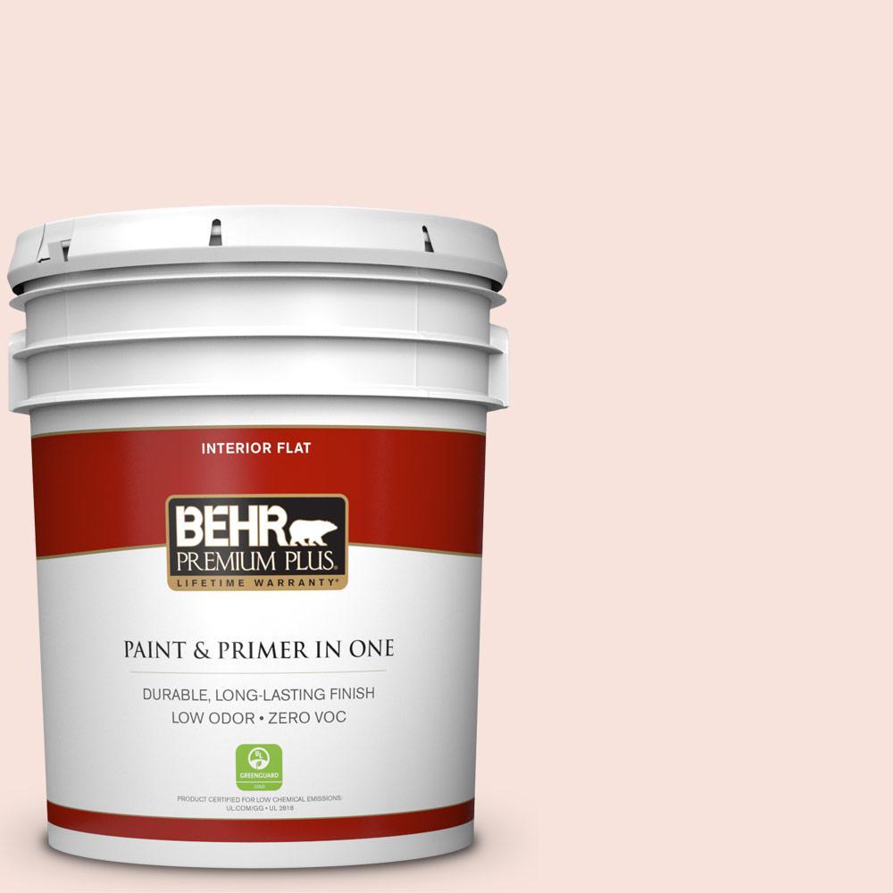 BEHR Premium Plus 5-gal. #210C-1 Angel Blush Zero VOC Flat Interior Paint