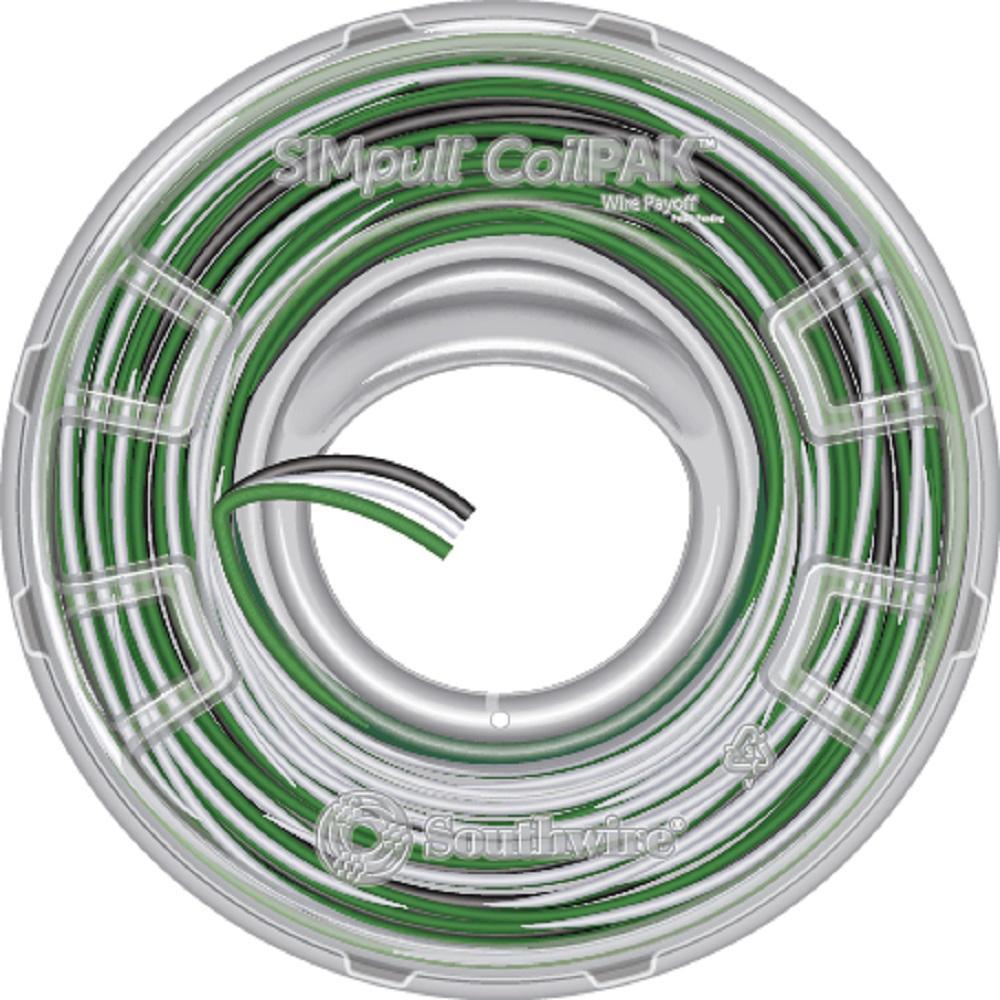12/3 black/white/green solid cu coilpak simpull