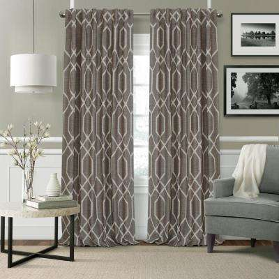 Devin Taupe Polyester Single Blackout Window Curtain - 52 in. W x 84 in. L