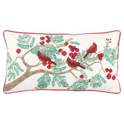 Christmas Cardinals 14 in. x 26 in. Decorative Filled Pillow