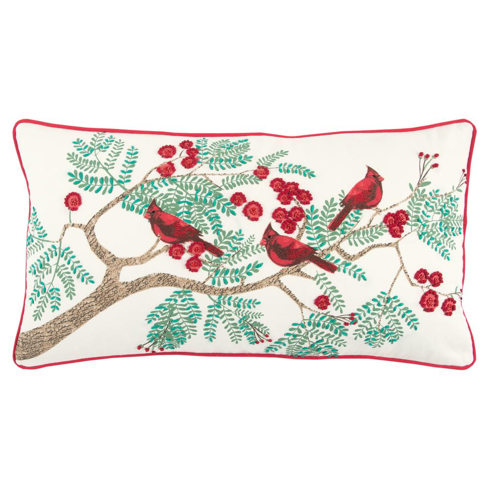 Rizzy Home Christmas Cardinals 14 in. x 26 in. Decorative Filled Pillow-PILT13607MU001426 - The ...