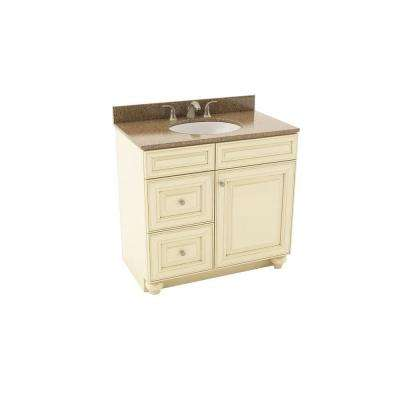 Savannah 37 in. Vanity in Hazelnut with Left Drawers and Silestone Quartz Vanity Top in Sienna Ridge and Oval White Sink