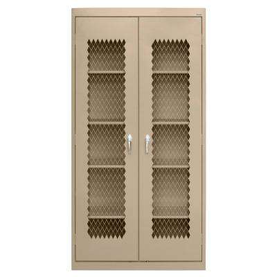 72 in. H x 36 in. W x 24 in. D Steel Freestanding Expanded Metal Front Cabinet in Tropic Sand