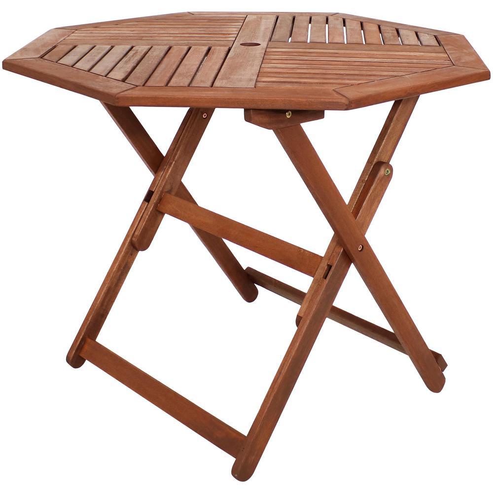 Meranti Octagon Outdoor Wood Folding Table