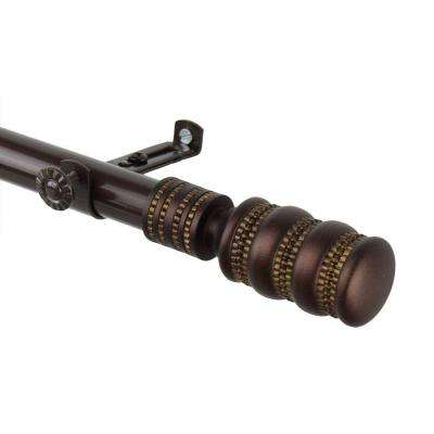 120 in. - 170 in. Telescoping Curtain Rod Kit in Cocoa with Dollop Finial
