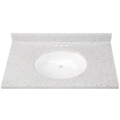 37 in. W x 22 in. D Solid Surface Vanity Top in Silver Ash with White Sink