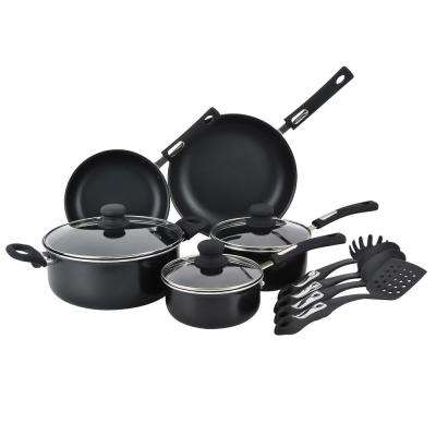 12-Piece Black Cookare Set with Lids