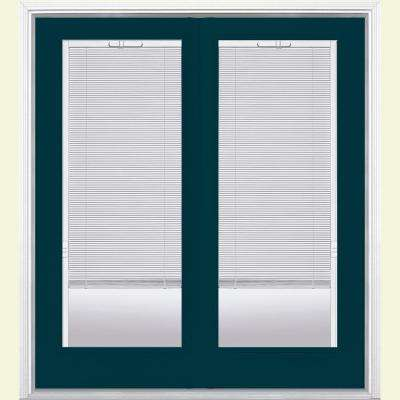 60 in. x 80 in. Night Tide Prehung Right-Hand Inswing Mini Blind Steel Patio Door with Brickmold