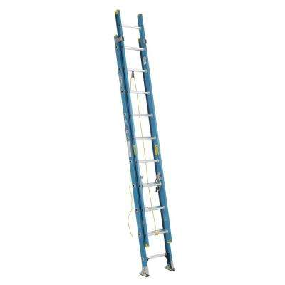 20 ft. Fiberglass D-Rung Extension Ladder with 250 lb. Load Capacity Type I Duty Rating
