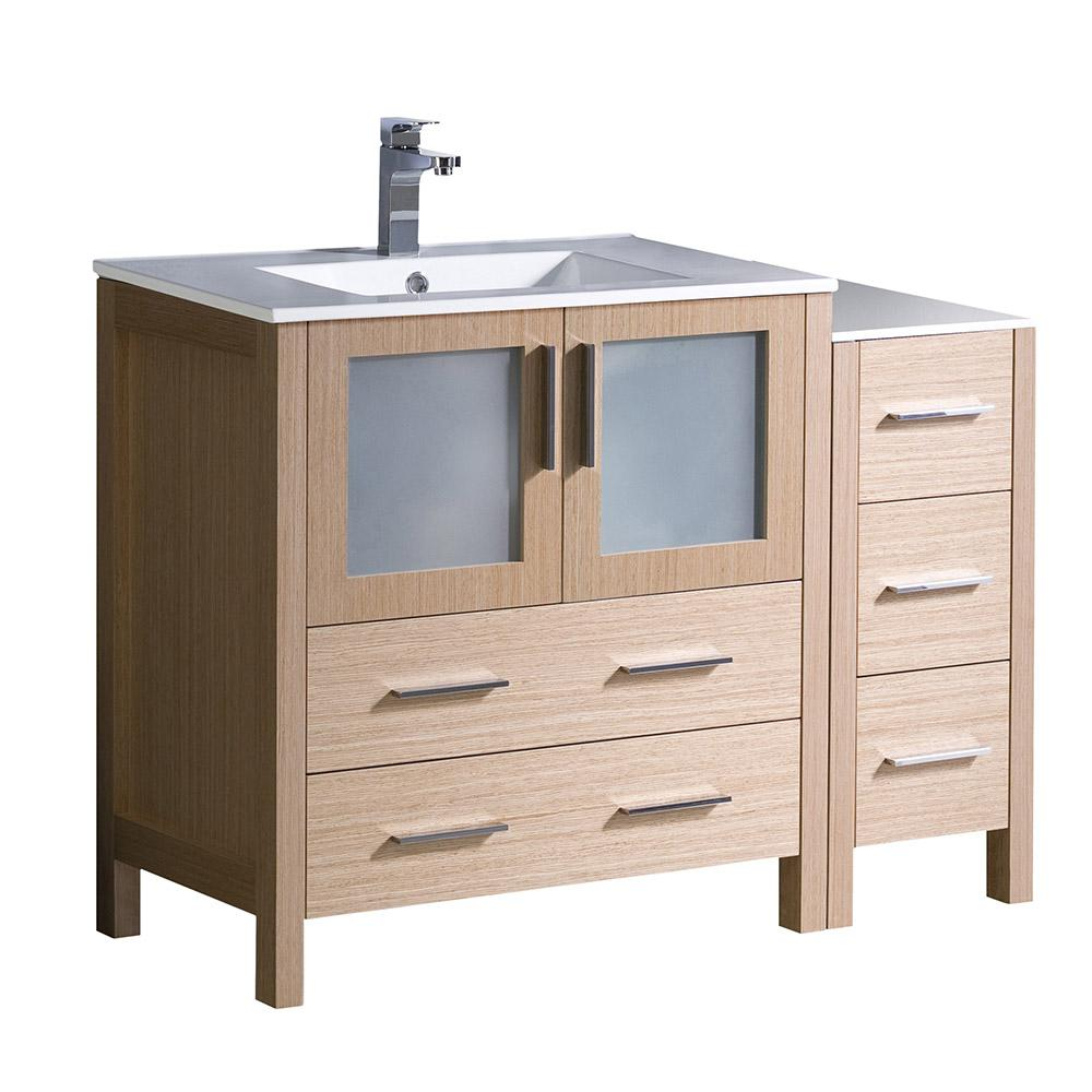 Torino 42 in. Bath Vanity in Light Oak with Ceramic Vanity