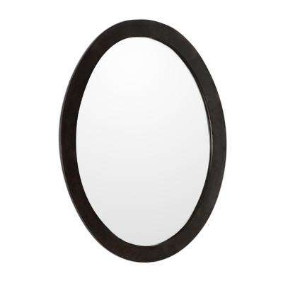 Lazio 22 in. x 28 in. Oval Framed Wall Mirror in Sable Walnut