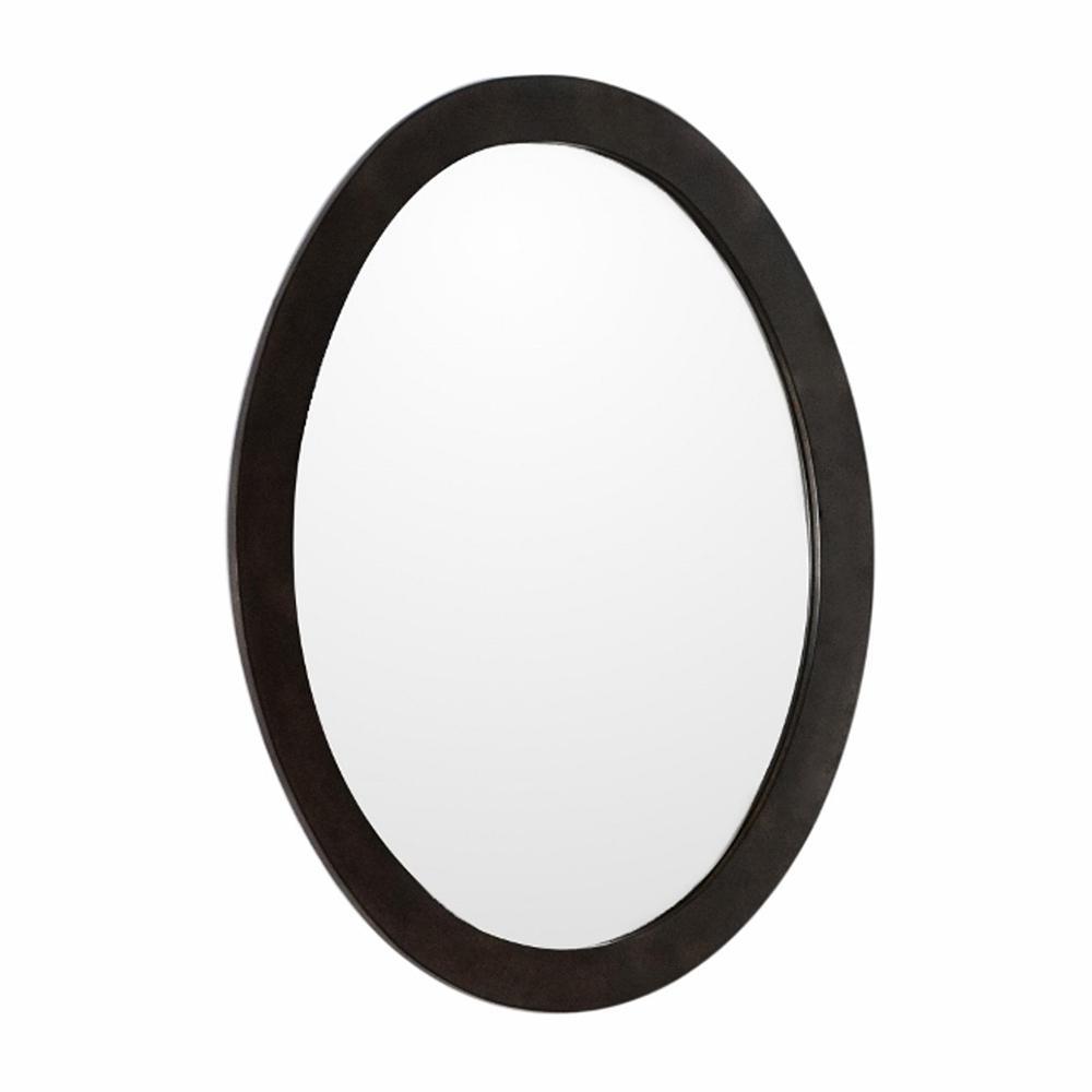 Lazio 22 in. x 28 in. Oval Framed Wall Mirror in Sable Walnut