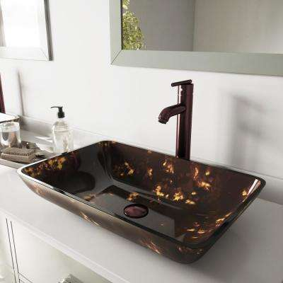Rectangular Glass Vessel Bathroom Sink in Brown and Gold Fusion with Faucet in Oil Rubbed Bronze