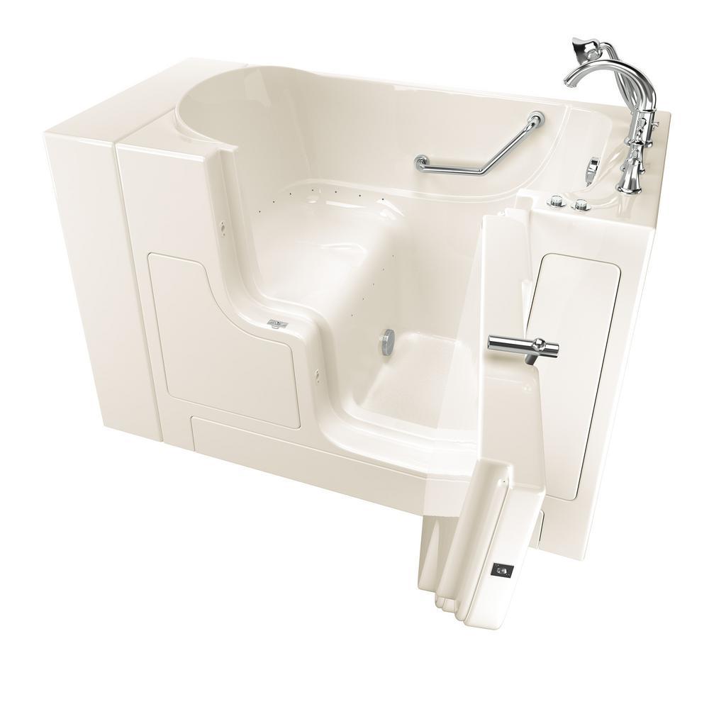 American Standard Gelcoat Value Series 52 in. x 30 in. Right Hand Walk-In Air Bathtub with Outward Opening Door in Linen
