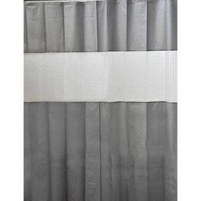 Laser 71 in. x 79 in. Peva Grey Solid Colors Bath Shower Curtain