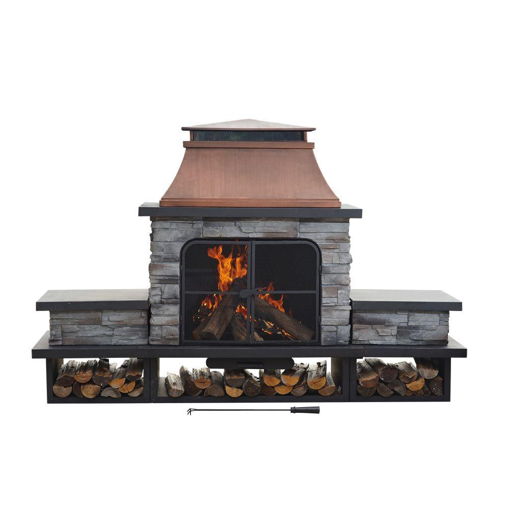 Sunjoy Seneca 51 In Wood Burning Outdoor Fireplace L Of083pst 2 The Home Depot