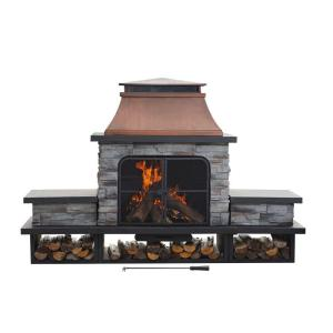 Uniflame 45 In Outdoor Fireplace With Chimney Waf1013c Moxaz