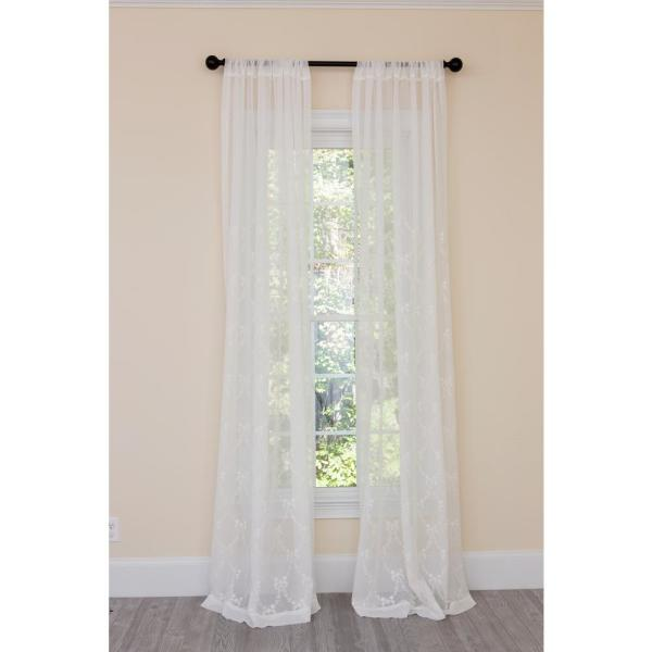 Belinda Embroidered Sheer Single Rod Pocket Curtain Panel in White - 54 in. x 84 in.