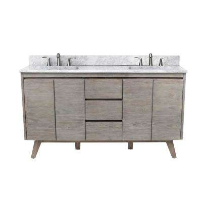 Coventry 61 in. Vanity in Gray Teak with Marble Top Vanity Top in Carrera White with White Basin