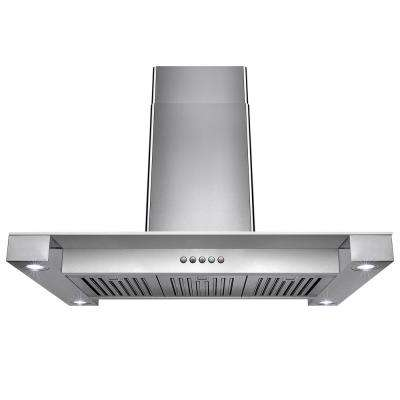 36 in. Convertible Stainless Steel Island Mount Range Hood in Stainless Steel Tempered Glass