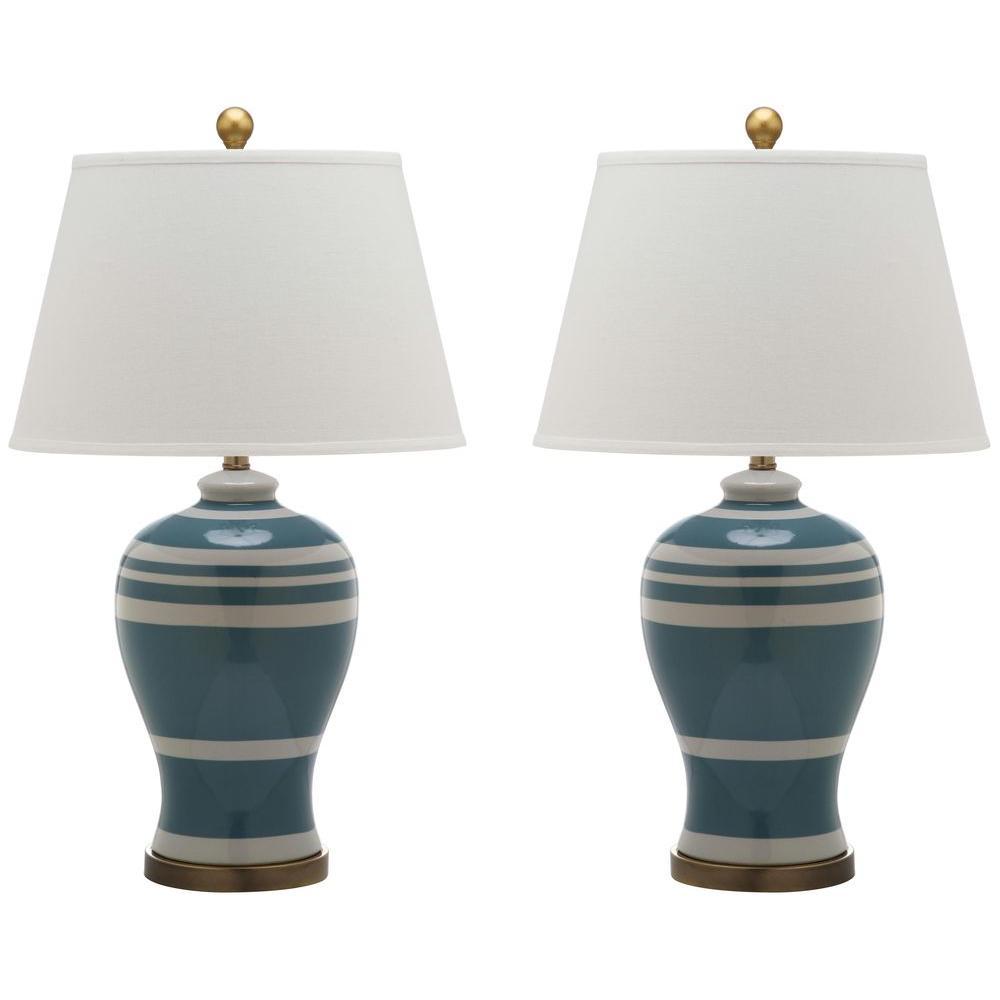 Superior Blue Pottery Stripe Ginger Jar Lamp (2 Set)