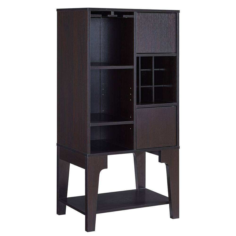 Esme Espresso Wine Cabinet With Adjustable Shelves