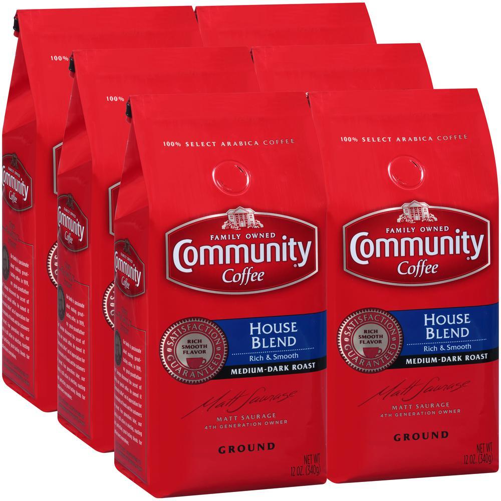 12 oz. House Blend Medium-Dark Roast Premium Ground Coffee (6-Pack)